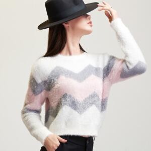 马海毛条纹拼色毛衣女波浪间色套头宽松短款高腰针织衫长袖上衣潮