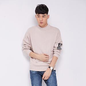 韩版纯色半高领长袖针织衫毛衣青年字母贴章休闲时尚学生打底衫厚