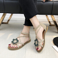 2019新款夏季凉鞋女花朵韩版时尚仙女风沙滩凉鞋包跟潮流百搭露趾