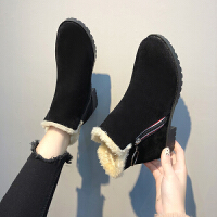 201909230829263992019秋冬新款平底低跟韩版女鞋短靴保暖棉鞋马丁靴学生女靴子裸靴