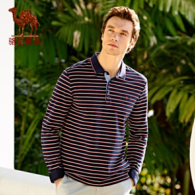 骆驼男装 新款绣标翻领商务休闲条纹Polo棉质长袖T恤衫男