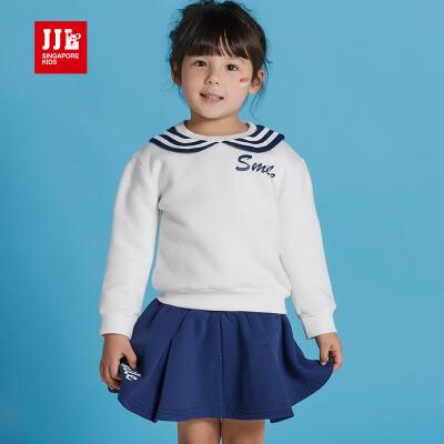 jjlkids季季乐童装女童套装上衣裙子春秋新品女童学院风套装裙GQZ63249专柜同款
