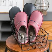 冬季棉拖鞋女pu皮防水情侣居家室内防滑卧室地板保暖厚底软底家用
