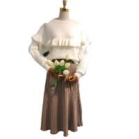 秋冬新款大码女装胖妹妹胖mm心机套装时髦2018网红毛衣针织半身裙 +