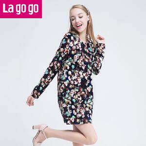 lagogo拉谷谷冬季印花修身百搭连衣裙