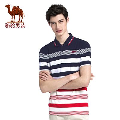 骆驼男装 夏季新款 条纹翻领POLO衫商务休闲男青年短袖T恤衫