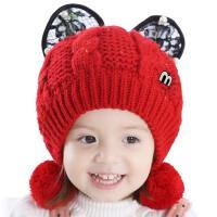 女童帽子秋冬季小孩帽子儿童毛线帽幼儿帽子宝宝帽子冬2-3岁