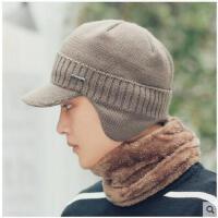 鸭舌帽男毛线帽护耳保暖棉帽男士帽子男韩版潮针织帽加绒加厚防寒