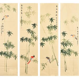 河南美术家协会会员许鲁花鸟四条屏gh05032