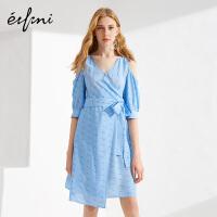 伊芙丽夏新款韩版裙子拼接V领性感漏肩字母高腰修身连衣裙女