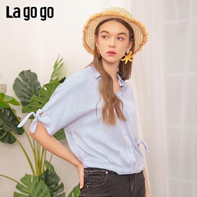 【5折价179】Lagogo/拉谷谷2019夏季新款蝙蝠袖短袖淑女条纹衬衫IACC324C23
