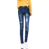 2017春季新款韩版高腰破洞牛仔裤女弹力显瘦学生小脚铅笔裤17YK-608
