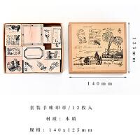 手帐之家手帐牛皮盒装复古印章系列 原木橡胶手帐相册日记装饰DIY 牛皮盒装复古印章