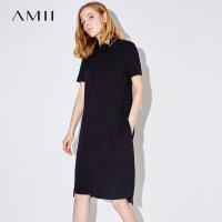 【1件7折/2件5折 再用券】Amii[极简主义]夏装2017新款女POLO领短袖字母印花连衣裙11742368