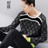 初语2017冬装新款针织衫女套头毛衣女8540423015