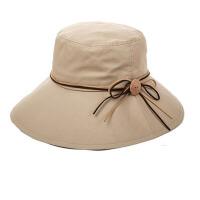 女夏天凉帽木扣可折叠遮阳帽大沿防晒帽太阳帽