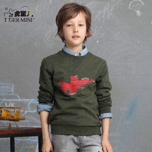 男童纯棉透气体恤 儿童长袖T恤中大童军旅休闲运动春秋款飞机童装