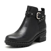 索菲娅(Safiya) 冬季油腊牛皮/石头纹牛皮圆头中跟休闲短靴女鞋