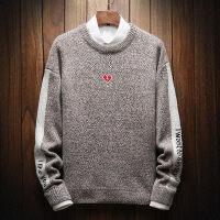 秋冬季毛衣男士韩版衬衫领针织衫帅气秀秀长袖衬衣圆领上衣潮毛衫