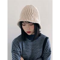 女生帽子女潮渔夫帽时尚毛线帽秋冬季针织帽盆帽