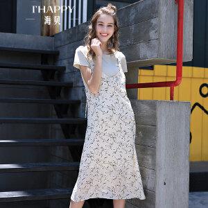 海贝夏季新款女装 甜美圆领短袖T恤碎花吊带长款两件套连衣裙