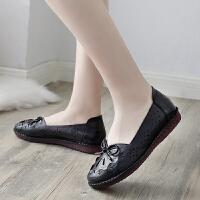 妈妈鞋女夏季真皮软底中老年镂空包头凉鞋舒适平底中年老人洞洞鞋 35 标准尺码