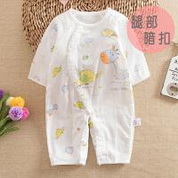 2018新款夏季婴儿纯棉纱布长袖连体衣薄款宝宝哈衣爬服新生儿衣服空调睡衣.