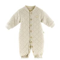 婴儿连体哈衣秋装纯棉宝宝爬服秋冬季方便穿脱纸尿裤