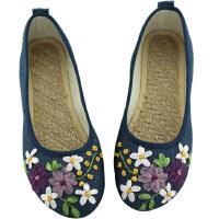 春夏新款女鞋民族风白色绣花鞋子平底妈妈亚麻大码单鞋 34 标准尺码