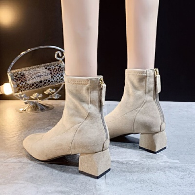 马丁靴女英伦风2019新款百搭粗跟方头弹力踝靴中跟短靴网红瘦瘦靴