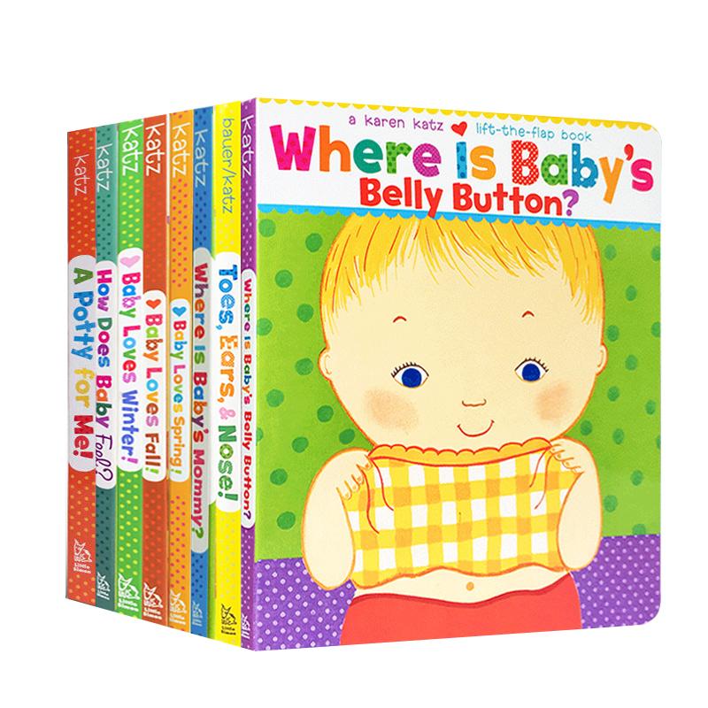 英文原版绘本Karen Katz 凯伦卡茨系列8册Where Is Baby's Belly Button Christmas纸板翻翻书 Baby loves summer幼儿四季启蒙童书