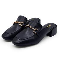 网红拖鞋包头粗跟2019新夏季半拖鞋女百搭懒人鞋凉拖鞋女外穿鞋子夏季百搭鞋