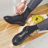 夏季港风男鞋日系复古圆头黑色小皮鞋大头鞋韩版大码马丁靴潮学生