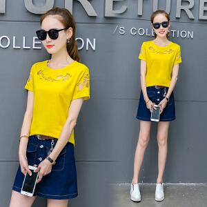 夏季短袖T恤夏装体恤韩版心机露肩半袖上衣打底衫女棉