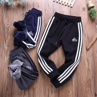 男运动裤冬季宝宝棉裤儿童装侧白条卫裤