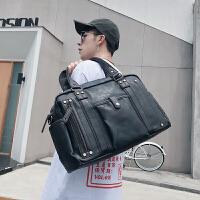 旅行包手提型时尚休闲男包单肩包斜挎包男士包包手提包韩版潮流包旅行包电脑包 黑色
