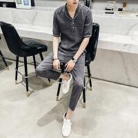夏款韩版休闲中袖衬衫套装潮男时尚修身衬衫发型师工装衬衫套装潮