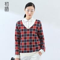 初语冬季新款 苏格兰格纹V领撞色长袖修身套头毛衣女8530423029