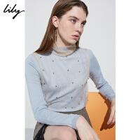 【超品日2折价139.8元】Lily春新款女装仙气粉蓝薄纱两件套宽松针织衫118410B8704