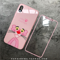 卡通粉红豹苹果XS Max手机壳xr玻璃iphone7plus保护套6s全包8女款 XS Max 正面粉红豹(玻璃)