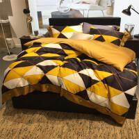 北欧风全棉纯棉床单四件套 60支长绒棉格子被套1.8米床笠床上用品 明黄色 黄-格