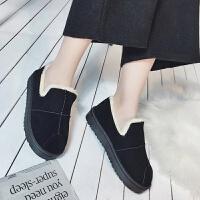 雪地靴女冬季休闲懒人鞋平底短靴一脚蹬厚底加绒学生棉鞋女面包鞋