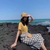 波点半身裙女2019夏秋韩版显瘦中长款臂雪纺百褶裙潮流
