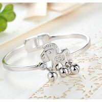 韩国时尚甜美送女友925银手镯可爱小马铃铛银手镯女款礼物送妈妈