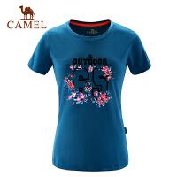 camel骆驼户外休闲T恤 春夏女款轻薄透气宽松短袖棉T恤