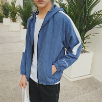 日系刺绣复古连帽外套男秋季韩版学生宽松一条杠短款运动夹克