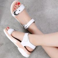 夏季新款平底凉鞋女夏中跟真皮韩版厚底百搭坡跟学生平跟女鞋