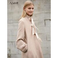 Amii极简时尚chic英伦毛呢外套2018冬季新款宽松立领条纹中长外套