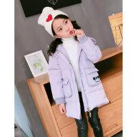 凡兔冬季新款女童可爱贴布绣连帽羽绒服儿童中长款保暖外套