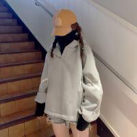 卫衣女秋冬新款假两件加绒加厚毛衣外套韩版潮原宿BF宽松显瘦上衣